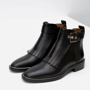 Zara fringe leather Chelsea boot